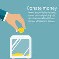 Man Throws Gold Coin In A Box For Donations. Coin In Hand. Donat Royalty Free Stock Photos - 71308978