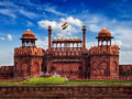 Red Fort Lal Qila With Indian Flag. Delhi, India Royalty Free Stock Photography - 71309387