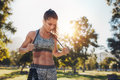 Fit Young Woman With A Skipping Rope At The Park Stock Photo - 71312050