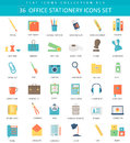 Vector Office Stationery  Color Flat Icon Set. Elegant Style Design. Royalty Free Stock Image - 71317296