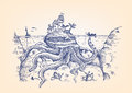 A Disguised Giant Octopus Hides Underwater And Attacks A Fisherman Stock Images - 71325314