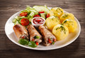 Pork Chop And Vegetables Royalty Free Stock Photography - 71329997