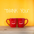 Thank You Word.Two Cups Of Coffee And Stand Together Stock Image - 71341381
