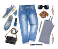 Set Of Female Clothes And Travel Accessories Isolated On White Royalty Free Stock Image - 71346176