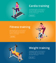 Banner Set Fitness Woman Working Out On Exercise Bike, Young Woman With Barbell Flexing Muscles, Pretty Girl Working Out Stock Image - 71350211
