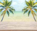 Empty Wooden With Coconut Tree And Sea Background For Product Display. Stock Image - 71352131