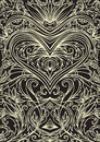 Cover Ornament Pattern Playing Cards Or Book. Ornate Heart On Black Background. Stock Photography - 71354242