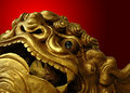 Golden Chinese Lion Statue Stock Image - 7140741