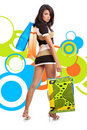 Shopping Girl Over Abstract Background Royalty Free Stock Photography - 7146587