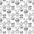 Cactus Seamless Pattern Illustration. Vector Succulent And Cacti Hand Drawn Set. In Door Plants In Pots. Royalty Free Stock Photography - 71409667