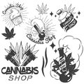 Vector Set Of Medical Marijuana Labels In Vintage Style. Cannabis Emblems, Badges And Logos For Shop Design. Weed Leafs Stock Photo - 71427310