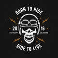 Vintage Motorcycle T-shirt Graphics. Born To Ride. Ride To Live. Vector Illustration. Stock Image - 71429291