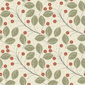 Retro Seamless Pattern With Green Leaves And Red Flowers Royalty Free Stock Photo - 71430675