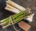 White And Green Asparagus Bound With Twine And Tag Stock Photos - 71441293
