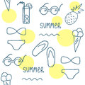 Hand Drawn Summer Seamless Pattern. Line Set Of Elements.  Royalty Free Stock Images - 71455619