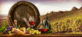 Wine Barrel On Vineyard Stock Photography - 71457962