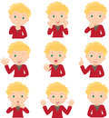 Blond Boy Doubts, Rejoices, Angry And Gives Advice Royalty Free Stock Photos - 71467178