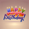 Happy Birthday Greeting Card. Cake With Candles.  Stock Images - 71500264