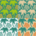 Set Of Vector Seamless Patterns With Palm Trees And Sun. EPS10 Royalty Free Stock Photos - 71504658
