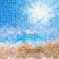 Mosaic Blue Sky Sand Beach Pattern Texture Background With White Grout Stock Photo - 71506520
