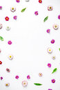 Wreath Frame Heart With Roses, Chamomile Buds, Leaves, Petals Isolated On White Background Royalty Free Stock Images - 71507479