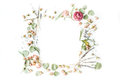Wreath Frame With Roses, Lavender, Branches, Leaves And Petals Isolated On White Background Stock Image - 71507931