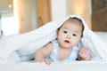 Portrait Of A Newborn Asian Baby On The Bed Royalty Free Stock Image - 71517166