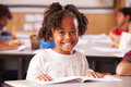 Portrait Of African American Elementary School Girl In Class Royalty Free Stock Image - 71525786