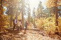 African American Family Walking Through Fall Woodland Royalty Free Stock Image - 71527396