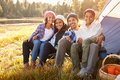 Portrait Of Parents With Children Camping By Lake Royalty Free Stock Photography - 71530907