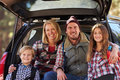 Portrait Of Family By Their Car Before Hiking, Close-up Stock Photography - 71532312
