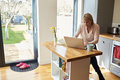 Woman Working From Home On Laptop In Modern Apartment Royalty Free Stock Images - 71532729