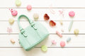 Pastel Fashion Accessories For Girls On White Royalty Free Stock Image - 71534826