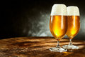 Two Glasses Full Of Beer On Table Royalty Free Stock Photo - 71535885