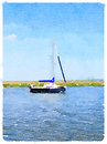 Digital Watercolor Of A Sailboat At Anchor Royalty Free Stock Photo - 71538115