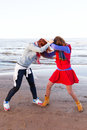 Fighting Women Near Lake Royalty Free Stock Images - 71540959