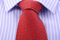 Red Mens Tie And Blue Stripe Shirt. Stock Images - 71542804