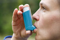 Asthma Patient Inhaling Medication Royalty Free Stock Photo - 71548765