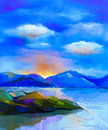 Abstract Colorful Oil Painting Landscape, Hill And Sea Stock Photo - 71563720