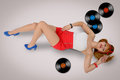 Sexy Pin-up Girl With Vinyl Record Lying  On A Floor Royalty Free Stock Image - 71591446