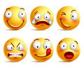 Set Of Smiley Face Icons Or Yellow Emoticons With Different Facial Expressions Royalty Free Stock Photography - 71595167