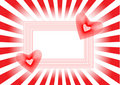 Two Red Hearts In A Beautiful Frame And Rays Royalty Free Stock Image - 7161086