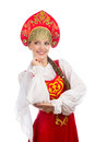 Beautiful  Smiling Russian Girl In Folk Costume Stock Photos - 71617913