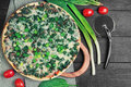 Vegetarian Pizza With Spinach Stock Image - 71638911