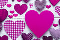 Greeting Card With Pruple Heart Texture, Copy Space Stock Image - 71641431