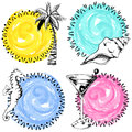 Set Of Four Colorful Hand Drawn Summer Labels Royalty Free Stock Photo - 71650945