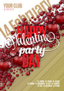 Valentines Day Party Flyer Background Design. Vector Template Of Invitation With Hearts, Flyer, Poster Or Greeting Card Royalty Free Stock Photo - 71652305
