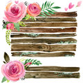Wood Banners With Rose Flower. Rose Flower Watercolor. Wedding Decorative Element. Wood Panel Set. Royalty Free Stock Photos - 71652398