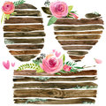 Wood Banners With Rose Flower. Rose Flower Watercolor. Wedding Decorative Element. Wood Panel Set. Stock Photography - 71652512