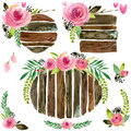 Wood Banners With Rose Flower. Rose Flower Watercolor. Wedding Decorative Element. Wood Panel Set. Royalty Free Stock Photos - 71653128